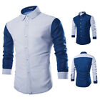 Fashion Mens Button Long Sleeve Shirt Casual Slim Fit Stylish Dress Shirts Tops