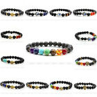 Lava Rock Gemstone Buddha Skull Hamsa Hand Evil Eye Wolf Elastic Bangle Bracelet