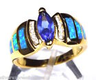 Genuine 18k Gold Over Sterling Silver Tanzanite & Blue Fire Opal Inlay  Ring