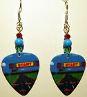 NEW! Handmade in USA Guitar Pick Earrings w/ Beads - Joust Pole Position Arcade