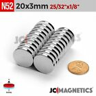 "Внешний вид - 5 10 25 100pc 20mm x 3mm 13/16""x1/8"" N52 Strong Disc Rare Earth Neodymium Magnet"