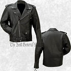 Mens Black Buffalo Solid Leather Motorcycle Riding Jacket Classic Biker-Style