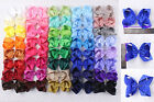 lot 4pc~100pc 5inch kid Solid Ribbon big Hair bows Alligator clip(196 color)401C