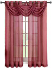 "Burgundy Abri Grommet Waterfall Valance, 24"" W X 24"" L Polyester Window Valances"