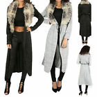 New Womens Ladies Fur Collar Long Cardigan Tie Waist Jacket Knitted Sweater Coat