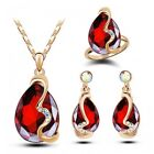 Fashion Woman Wedding Jewelry Sets 18K Gold Plated Crystal Necklace Earrings
