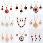 Fashion Woman Wedding Jewelry Sets 18K Gold Plated Crystal Necklace Earrings image