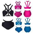 NEW Sexy Womens Vintage High Waist Strappy Bikini Swimsuit Swimwear Bathers FO
