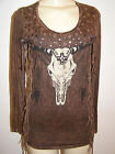 Vocal western style brown top fringe studs cow skull