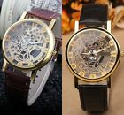 Fashion Men's Stainless Steel Faux Leather Men's Mechanical Skeleton Wrist Watch