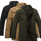 THICKEN Mens Winter Warm Military Jacket Parka Stand Collar Trench Coat Overcoat