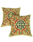 Applique Work Cushion Cover Cotton Pillow Cases Geometric Green Covers Square