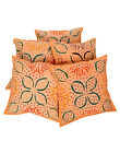 Hand Embroidered Cushion Cover Cotton Pillow Cases Abstract Orange Covers Square