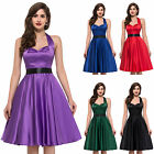 NEW VINTAGE FIFTIES 40's  HOLLY SWING DRESSES ROCKABILLY HALTER MOTHER SIZE S-XL