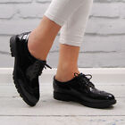 Womens Black Patent Flat Brogues Classic Casual Ladies Work School Vintage Shoes