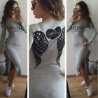 Casual Dresses Sexy Slim Wing Print Shirt Dress Long Sleeve Pullover Dress UKEW