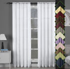 Abri Single Rod Pocket Crushed Sheer Window Curtain Panels Solid Sheer Curtains