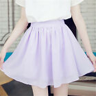 Women Cute Fashion Summer Chiffon Mini Short Pleated Skater Candy Color Skirt
