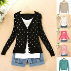 Women Fashion Peach Heart Knit Buttons V Neck Cardigan Thin Coat Tops New Sale