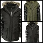 Winter soul star mens winter parka jackets warm faux leather sleeves coat m-Xl