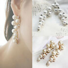 New Fashion Women Earings Charm Crystal Pearl Beads Stud Earrings Jewelry Gift M
