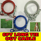 6FT FOOT FEET TIE OUT DOWN CABLE METAL STEEL LEAD WIRE DOG PET GARDEN STAKE