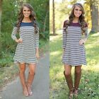 Casual Women Irregular Hem 3/4 Sleeve Striped Basic Tunic Loose T-Shirt Dress
