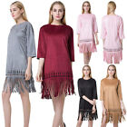 Women Fashion Casual Faux Suede Round Neck Fringe Tassel Hem Flapper Shift Dress