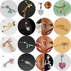 New Women's Crystal Bow Love Leaves Navel Buckle Navel Ring Beauty Body Jewelry