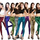 Sexy Women Skinny Shiny Fish Scales Print Slim Stretchy Elastic Waist Leggings