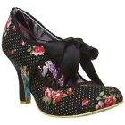 BRAND NEW IRREGULAR CHOICE NEPTUNE WOMENS HEELS IN BLACK POLKA DOT AND FLORAL