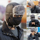 Men Winter Trapper Aviator Trooper Earflap Ski Hat Fur Hood Bomber Cap With Mask
