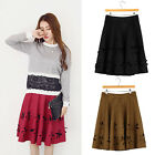 Women Faux Suede Hollow Out Flower High Waist Pleated Full Skater A-Line Skirt