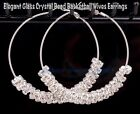 60mm Large Hoop +  Silver Rhinestone Basketball wives earring  8mm Disc Beads