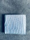 CLEARANCE GUCCI Men's classic crocodile leather bifold wallet ITALY Sky Blue