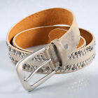 Black/Gold Lady Faux Leather Alloy Buckle Jeans Cool Wide Waist Belt Waistband