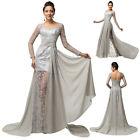 Womens Long Sleeve Lace &Chiffon Ball Gowns Evening Prom Party Masquerade Dress