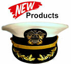 US NAVY OFFICER COMMANDER CAPTAIN RANK WHITE HAT CAP NEW ALL SIZES - CP MADE