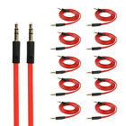 Lot 3.5mm Flat Red Auxiliary Cord Male Stereo Audio Gold Plated Aux Noodle Cable