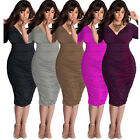 Women Fashion Sexy Deep-V Bodycon Plus Size Party Evening Cocktail Formal Dress