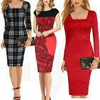 New Womens Fashion Colorblock Optical Illusion Party Wear To Work Pencil Dress