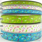 """3/8""""9mm&1""""25mm Mixed Colors Dragonfly Spring Grosgrain RIBBON 5 Yards Hair Bow"""