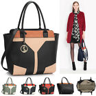 Ladies Bags Tote Handbags Large Fashion Designer Metal Detail Colour Block Bag