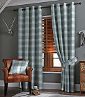 TARTAN CHECK STRIPED DUCK EGG RING TOP EYELET NEW READY MADE LINED PAIR CURTAINS