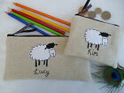 Personalised Sheep Coin Purse/Wallet or Pencil Case Linen Choice of wording gift