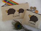 Personalised Hedgehog Coin Purse/Wallet or Pencil Case Linen Wording Choice Gift