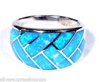 High Quality Blue Fire Opal Inlay 925 Sterling Silver Band Ring Size 6,7,8,9