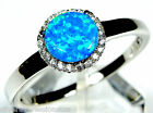 Blue Fire Opal & White Topaz Solid 925 Sterling Silver Ring size 6