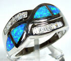 Quality Blue Fire Opal Inlay Solid 925 Sterling Silver Lady's Ring 6 - 8.75