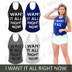 Womens Ladies Celeb Style I Want It All Right Now Print Halterneck Vest Top 8-14